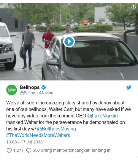 Twitter pesan oleh @BellhopsMoving: We've all seen the amazing story shared by Jenny about one of our bellhops, Walter Carr, but many have asked if we have any video from the moment CEO @LukeMarklin thanked Walter for the perseverance he demonstrated on his first day w/ @BellhopsMoving #TheWorldNeedsMoreWalters