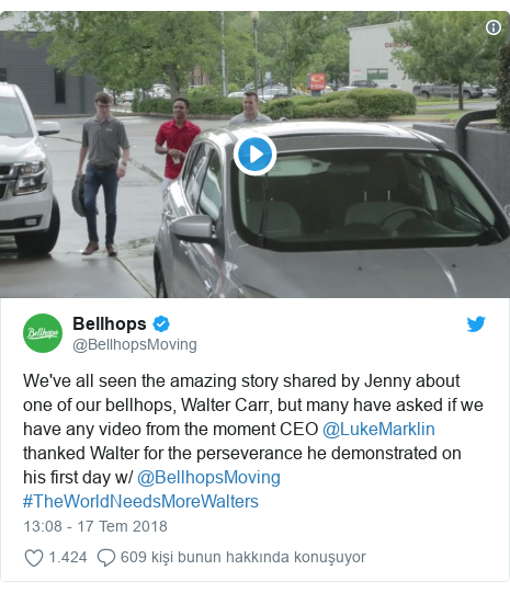 @BellhopsMoving tarafından yapılan Twitter paylaşımı: We've all seen the amazing story shared by Jenny about one of our bellhops, Walter Carr, but many have asked if we have any video from the moment CEO @LukeMarklin thanked Walter for the perseverance he demonstrated on his first day w/ @BellhopsMoving #TheWorldNeedsMoreWalters