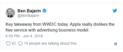 Twitter post by @BenBajarin: Key takeaway from WWDC today. Apple really dislikes the free service with advertising business model. horizonasia