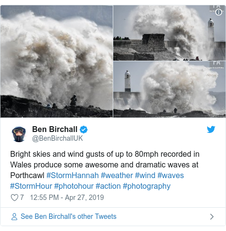 Twitter post by @BenBirchallUK: Bright skies and wind gusts of up to 80mph recorded in Wales produce some awesome and dramatic waves at Porthcawl #StormHannah #weather #wind #waves #StormHour #photohour #action #photography