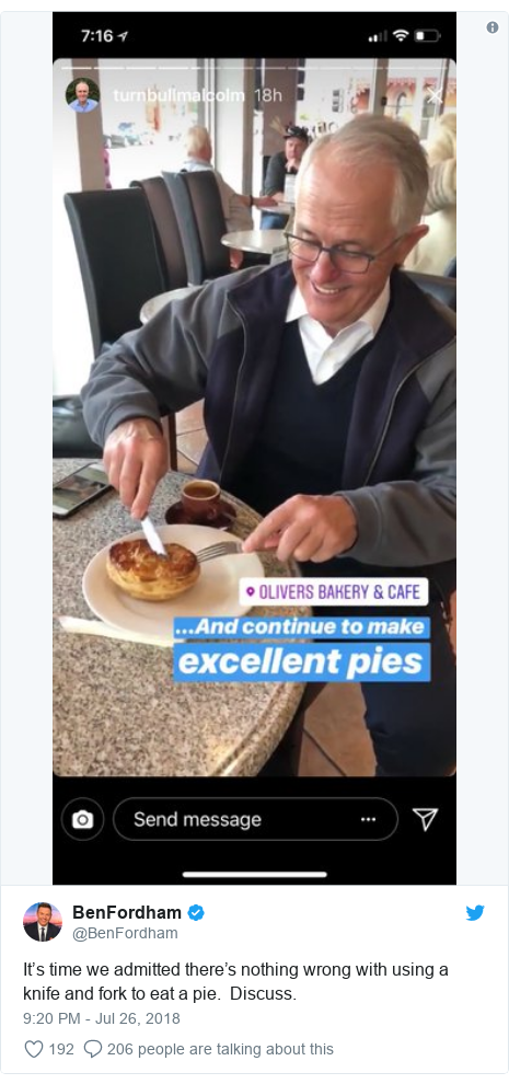 Twitter post by @BenFordham: It's time we admitted there's nothing wrong with using a knife and fork to eat a pie.  Discuss.