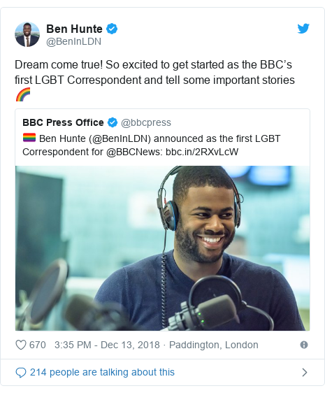 Twitter post by @BenInLDN: Dream come true! So excited to get started as the BBC's first LGBT Correspondent and tell some important stories 🌈