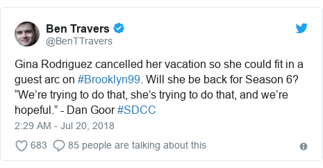 "Twitter post by @BenTTravers: Gina Rodriguez cancelled her vacation so she could fit in a guest arc on #Brooklyn99. Will she be back for Season 6? ""We're trying to do that, she's trying to do that, and we're hopeful."" - Dan Goor #SDCC"