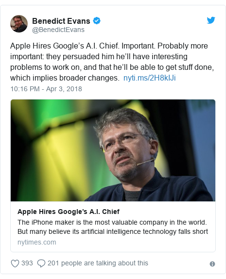 Twitter post by @BenedictEvans: Apple Hires Google's A.I. Chief. Important. Probably more important  they persuaded him he'll have interesting problems to work on, and that he'll be able to get stuff done, which implies broader changes.