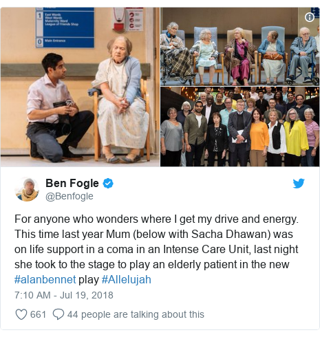 Twitter post by @Benfogle: For anyone who wonders where I get my drive and energy. This time last year Mum (below with Sacha Dhawan) was on life support in a coma in an Intense Care Unit, last night she took to the stage to play an elderly patient in the new #alanbennet play #Allelujah
