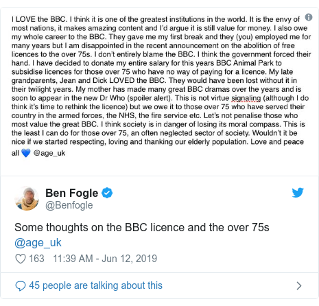 Twitter post by @Benfogle: Some thoughts on the BBC licence and the over 75s @age_uk