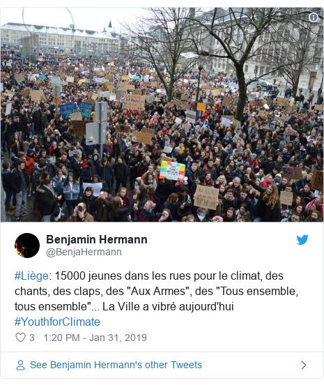"""Twitter post by @BenjaHermann: #Liège  15000 jeunes dans les rues pour le climat, des chants, des claps, des """"Aux Armes"""", des """"Tous ensemble, tous ensemble""""... La Ville a vibré aujourd'hui #YouthforClimate"""