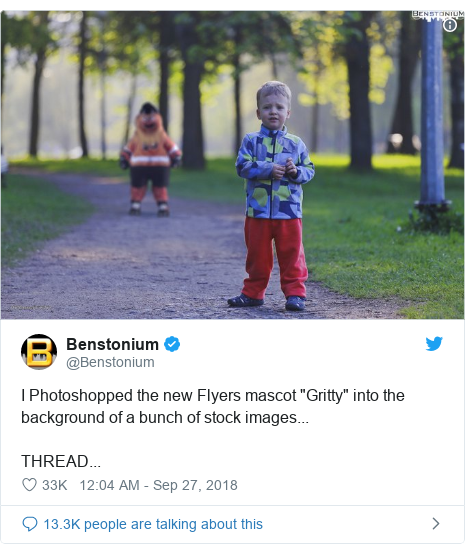 "Twitter post by @Benstonium: I Photoshopped the new Flyers mascot ""Gritty"" into the background of a bunch of stock images...THREAD..."