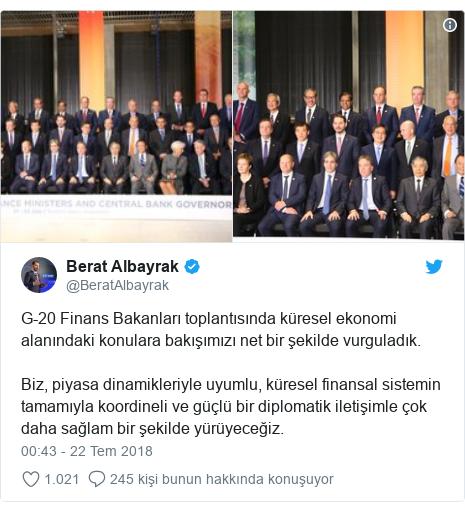 @BeratAlbayrak tarafından yapılan Twitter paylaşımı: G-20 Finans Bakanları toplantısında küresel ekonomi alanındaki konulara bakışımızı net bir şekilde vurguladık.Biz, piyasa dinamikleriyle uyumlu, küresel finansal sistemin tamamıyla koordineli ve güçlü bir diplomatik iletişimle çok daha sağlam bir şekilde yürüyeceğiz.