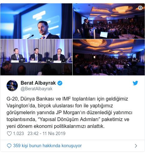 """@BeratAlbayrak tarafından yapılan Twitter paylaşımı: G-20, Dünya Bankası ve IMF toplantıları için geldiğimiz Vaşington'da, birçok uluslarası fon ile yaptığımız görüşmelerin yanında JP Morgan'ın düzenlediği yatırımcı toplantısında, """"Yapısal Dönüşüm Adımları"""" paketimiz ve yeni dönem ekonomi politikalarımızı anlattık."""