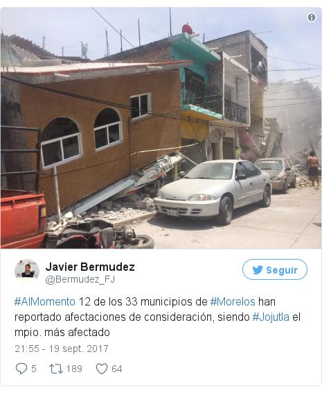 Publicación de Twitter por @Bermudez_FJ: #AlMomento 12 de los 33 municipios de #Morelos han reportado afectaciones de consideración, siendo #Jojutla el mpio. más afectado pic.twitter.com/hKvl0hAro5