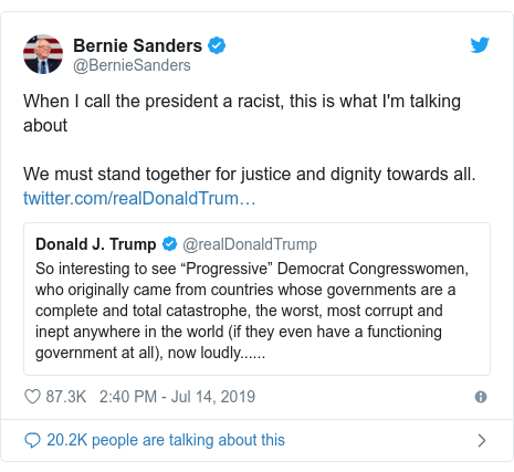 Twitter post by @BernieSanders: When I call the president a racist, this is what I'm talking about We must stand together for justice and dignity towards all.