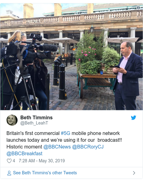 Twitter post by @Beth_LeahT: Britain's first commercial #5G mobile phone network launches today and we're using it for our  broadcast!! Historic moment @BBCNews @BBCRoryCJ @BBCBreakfast
