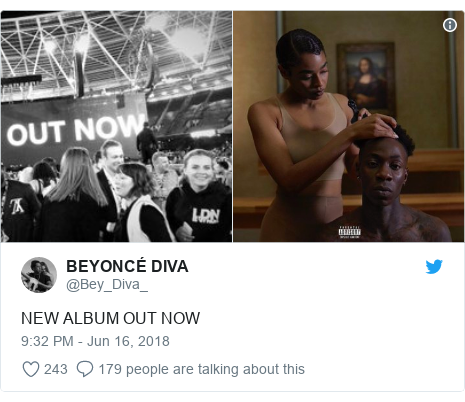 Twitter post by @Bey_Diva_: NEW ALBUM OUT NOW