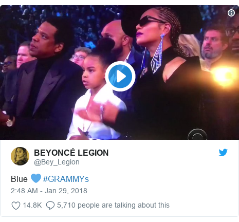 Twitter post by @Bey_Legion: Blue 💙 #GRAMMYs