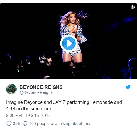 Twitter post by @BeyonceReigns: Imagine Beyonce and JAY Z performing Lemonade and 4 44 on the same tour.