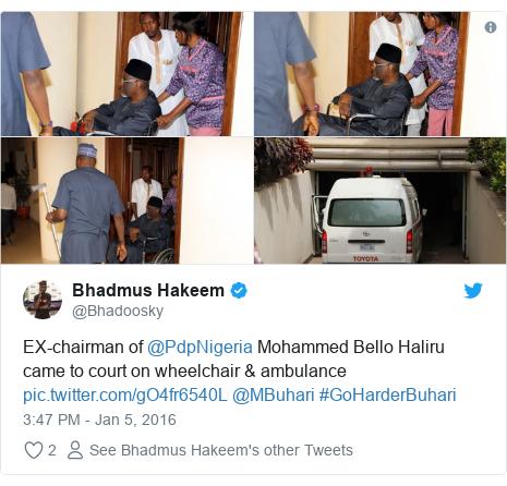 Twitter post by @Bhadoosky: EX-chairman of @PdpNigeria Mohammed Bello Haliru came to court on wheelchair & ambulance  @MBuhari #GoHarderBuhari