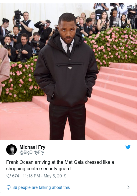 Twitter post by @BigDirtyFry: Frank Ocean arriving at the Met Gala dressed like a shopping centre security guard.