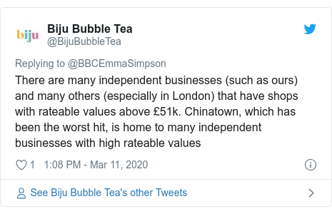 Twitter post by @BijuBubbleTea: There are many independent businesses (such as ours) and many others (especially in London) that have shops with rateable values above £51k. Chinatown, which has been the worst hit, is home to many independent businesses with high rateable values