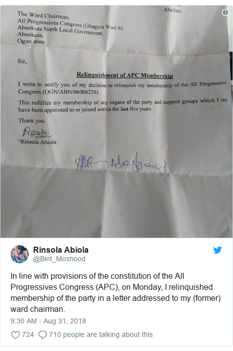 Twitter post by @Bint_Moshood: In line with provisions of the constitution of the All Progressives Congress (APC), on Monday, I relinquished membership of the party in a letter addressed to my (former) ward chairman.