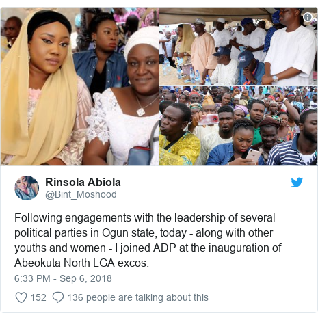 Twitter post by @Bint_Moshood: Following engagements with the leadership of several political parties in Ogun state, today - along with other youths and women - I joined ADP at the inauguration of Abeokuta North LGA excos.