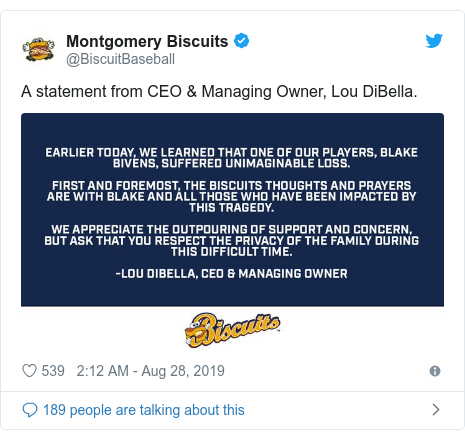 Twitter post by @BiscuitBaseball: A statement from CEO & Managing Owner, Lou DiBella.