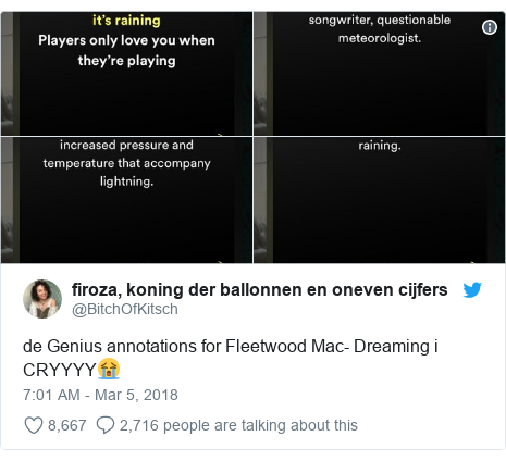 Twitter post by @BitchOfKitsch: de Genius annotations for Fleetwood Mac- Dreaming i CRYYYY😭