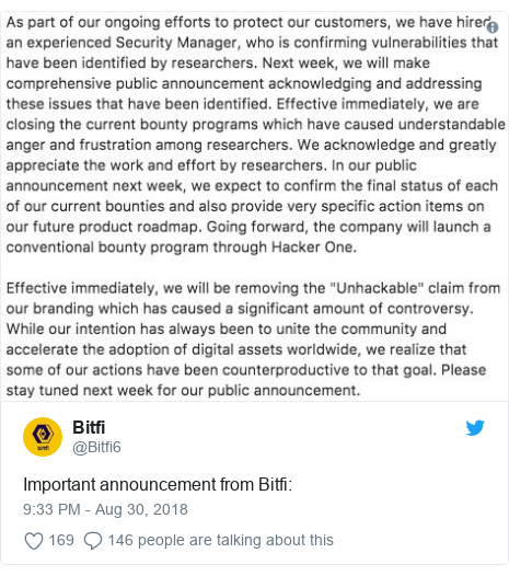 Twitter post by @Bitfi6: Important announcement from Bitfi