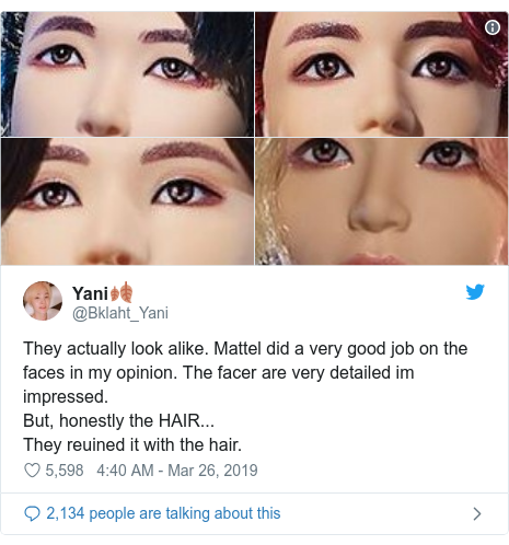 Twitter post by @Bklaht_Yani: They actually look alike. Mattel did a very good job on the faces in my opinion. The facer are very detailed im impressed.But, honestly the HAIR... They reuined it with the hair.