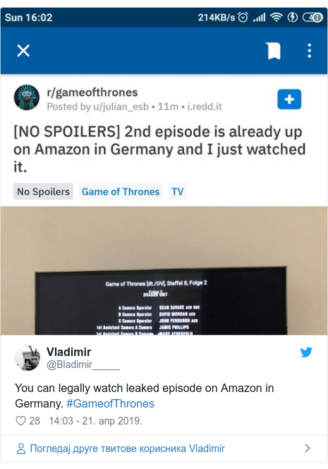 Twitter post by @Bladimir_____: You can legally watch leaked episode on Amazon in Germany. #GameofThrones