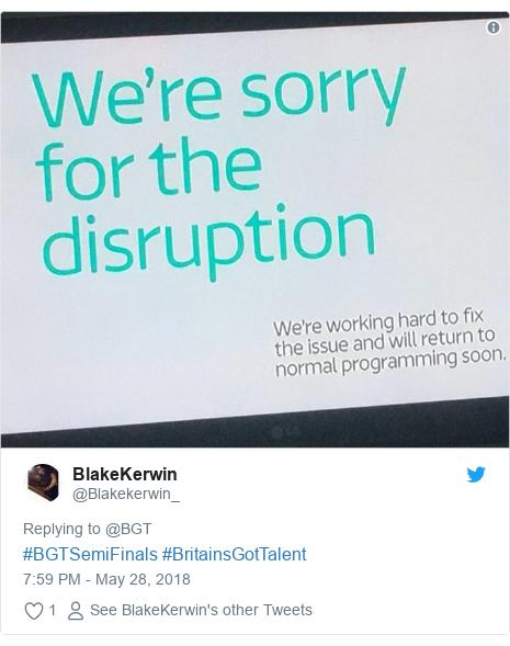 Twitter post by @Blakekerwin_: #BGTSemiFinals #BritainsGotTalent