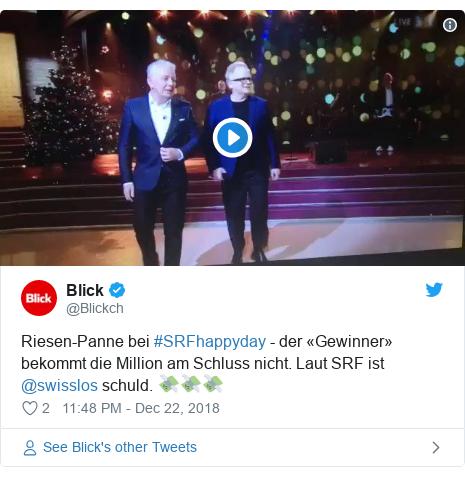 Twitter post by @Blickch: Riesen-Panne bei #SRFhappyday - der «Gewinner» bekommt die Million am Schluss nicht. Laut SRF ist @swisslos schuld. 💸💸💸