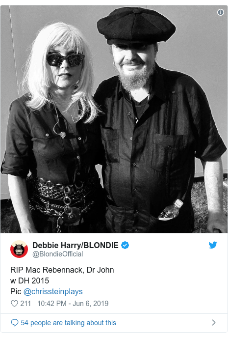 Twitter post by @BlondieOfficial: RIP Mac Rebennack, Dr Johnw DH 2015Pic @chrissteinplays
