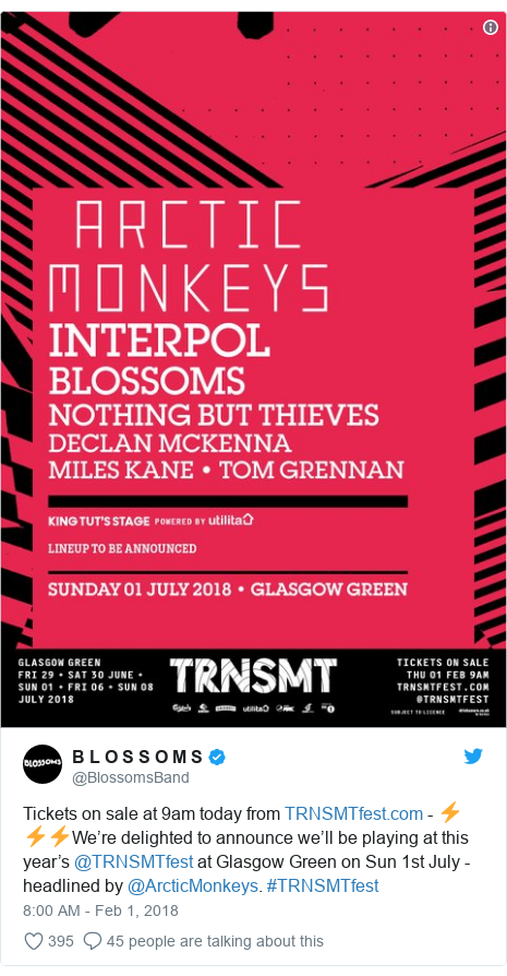 Twitter post by @BlossomsBand: Tickets on sale at 9am today from  - ⚡️⚡️⚡️We're delighted to announce we'll be playing at this year's @TRNSMTfest at Glasgow Green on Sun 1st July - headlined by @ArcticMonkeys. #TRNSMTfest
