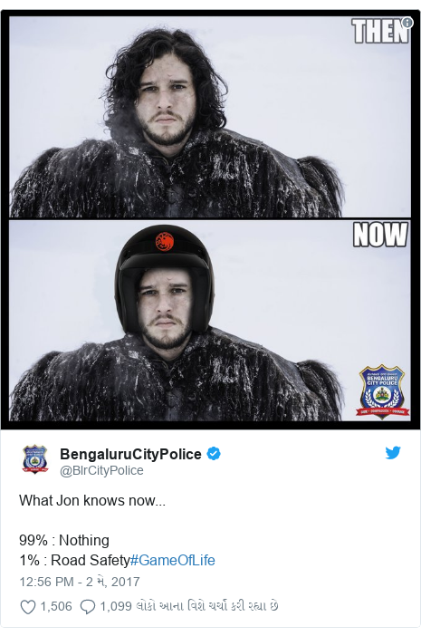 Twitter post by @BlrCityPolice: What Jon knows now...99%   Nothing1%   Road Safety#GameOfLife