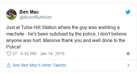 Twitter post by @BlueofButtsAsh: Just at Tulse Hill Station where the guy was wielding a machete - he's been subdued by the police, I don't believe anyone was hurt. Massive thank you and well done to the Police!