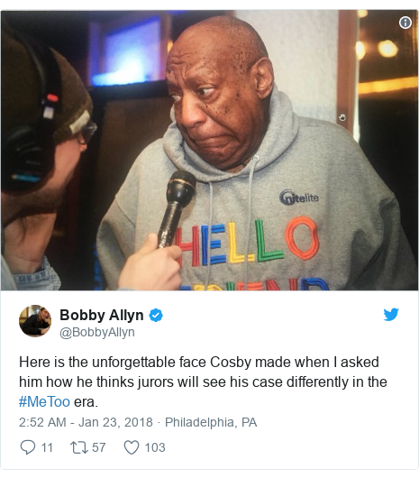 Twitter post by @BobbyAllyn: Here is the unforgettable face Cosby made when I asked him how he thinks jurors will see his case differently in the  #MeToo era.
