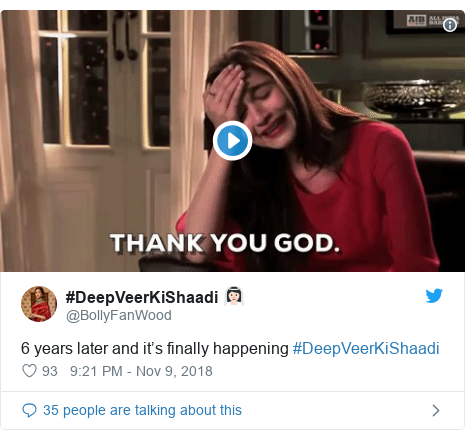 Twitter post by @BollyFanWood: 6 years later and it's finally happening #DeepVeerKiShaadi