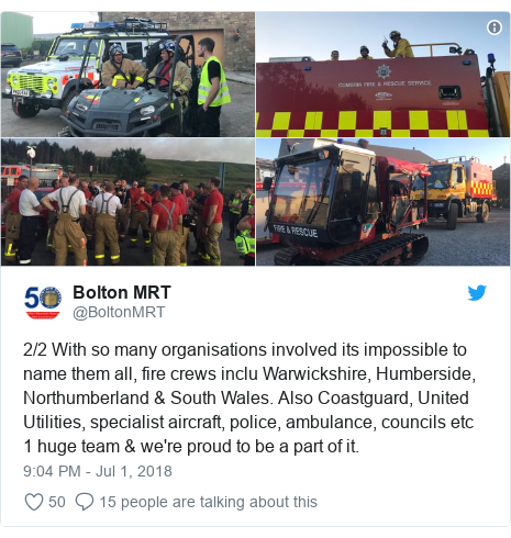 Twitter post by @BoltonMRT: 2/2 With so many organisations involved its impossible to name them all, fire crews inclu Warwickshire, Humberside, Northumberland & South Wales. Also Coastguard, United Utilities, specialist aircraft, police, ambulance, councils etc  1 huge team & we're proud to be a part of it.