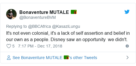 Twitter post by @BonaventureBVM: It's not even colonial, it's a lack of self assertion and belief in our own as a people. Disney saw an opportunity  we didn't.