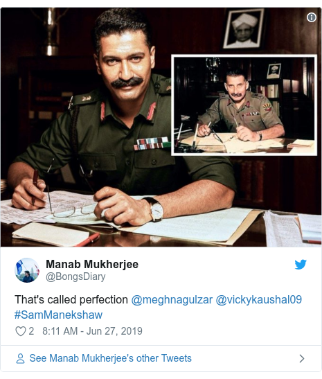 Twitter post by @BongsDiary: That's called perfection @meghnagulzar @vickykaushal09 #SamManekshaw