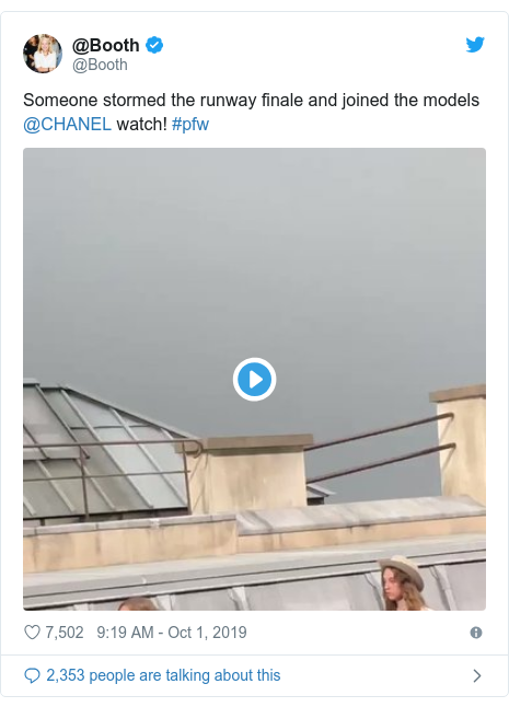Twitter post by @Booth: Someone stormed the runway finale and joined the models @CHANEL watch! #pfw