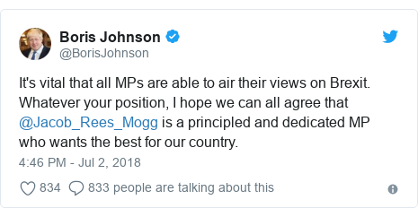 Twitter post by @BorisJohnson: It's vital that all MPs are able to air their views on Brexit. Whatever your position, I hope we can all agree that @Jacob_Rees_Mogg is a principled and dedicated MP who wants the best for our country.