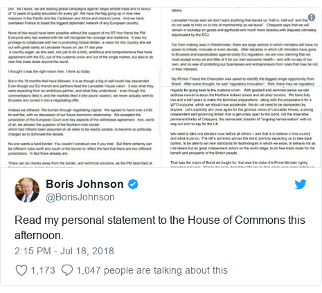 Twitter post by @BorisJohnson: Read my personal statement to the House of Commons this afternoon.