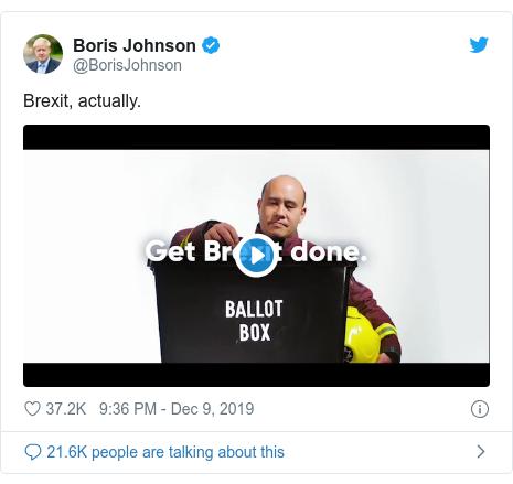 Twitter post by @BorisJohnson: Brexit, actually.