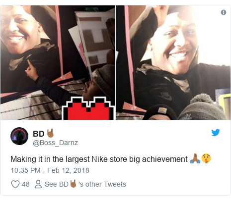 Twitter post by @Boss_Darnz: Making it in the largest Nike store big achievement 🙏🏾🤫