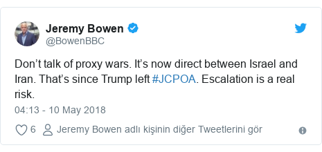 @BowenBBC tarafından yapılan Twitter paylaşımı: Don't talk of proxy wars. It's now direct between Israel and Iran. That's since Trump left #JCPOA. Escalation is a real risk.