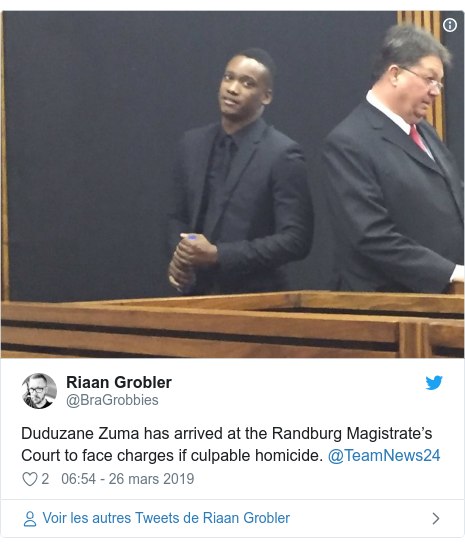 Twitter publication par @BraGrobbies: Duduzane Zuma has arrived at the Randburg Magistrate's Court to face charges if culpable homicide. @TeamNews24
