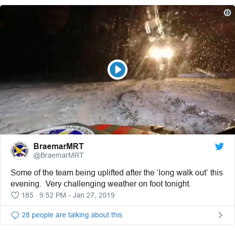 Twitter post by @BraemarMRT: Some of the team being uplifted after the 'long walk out' this evening.  Very challenging weather on foot tonight.