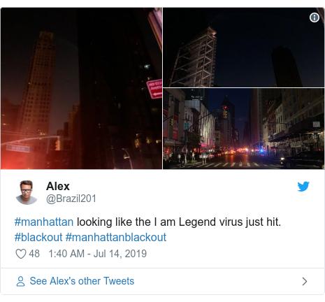 Twitter post by @Brazil201: #manhattan looking like the I am Legend virus just hit. #blackout #manhattanblackout